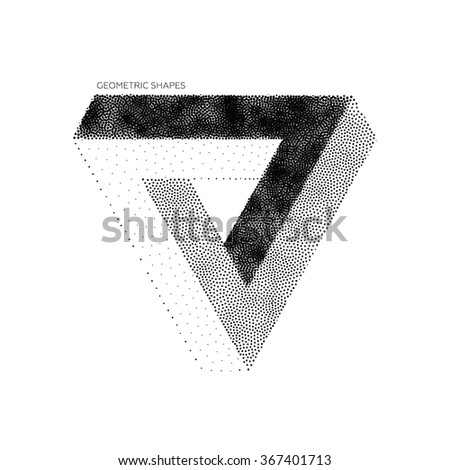 Abstract 3D Triangles. Vector geometric design element, new amazing hipster background. Modern pointillism Design Template for poster, business presentation - stock vector