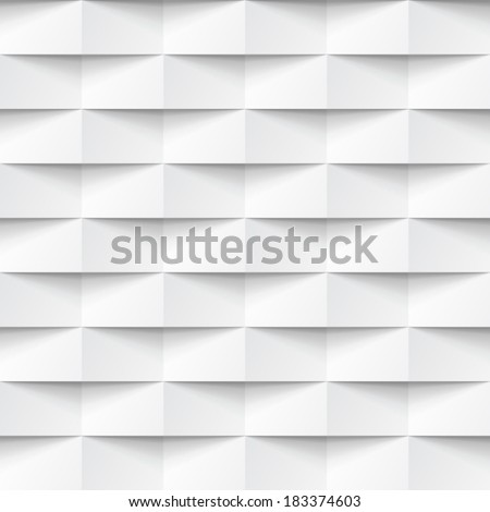Abstract 3d white geometric background. White seamless texture with shadow. Simple clean white background texture. 3D Vector interior wall panel pattern.  - stock vector