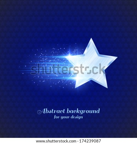 Abstract dark background with glowing metal star - stock vector