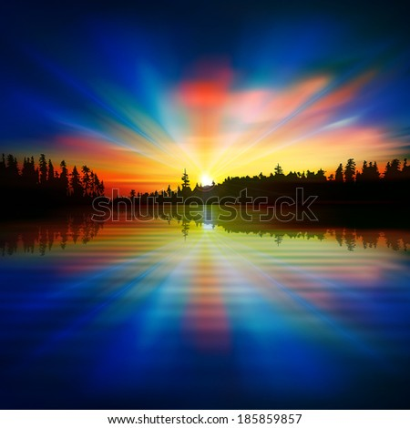 abstract dark blue background with forest lake and sunset - stock vector
