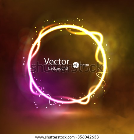 Abstract Dark Glowing Circle Background on Smoky Backdrop. Glowing shining circle. Show Presentation Background. - stock vector