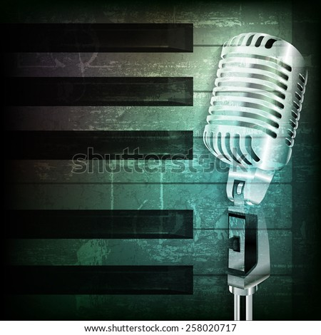 abstract dark green grunge background with retro microphone - stock vector