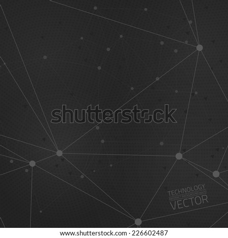 Abstract dark grey technology vector background. Connection structure. Vector science background. Polygonal vector background - stock vector