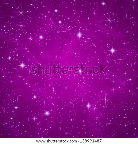 Abstract dark violet (petunia) background with sparkling, twinkling stars. Cosmic atmosphere illustration. Universe. Vector - stock vector