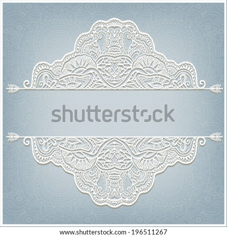 Abstract decoration, lace frame border pattern, ethnic ornament, invitation card design, white on blue background - stock vector