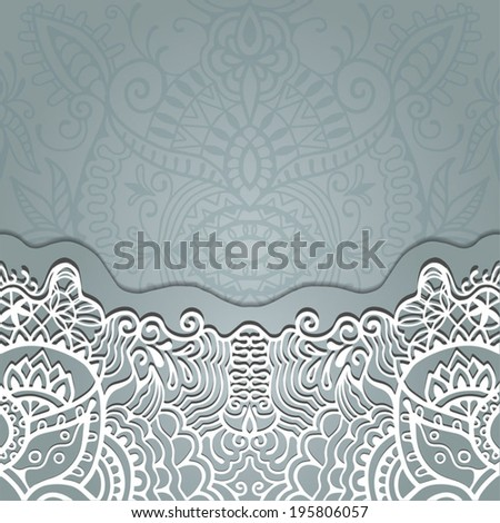 Abstract decoration, lace frame border pattern, invitation card design, floral and geometric ornament, hand drawn artwork, vector illustration - stock vector
