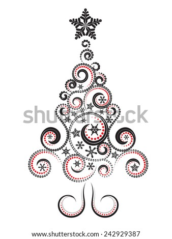 Abstract decorative christmas tree made of swirls and snowflakes. - stock vector