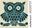 Abstract decorative network textured night owl. Vector. - stock vector