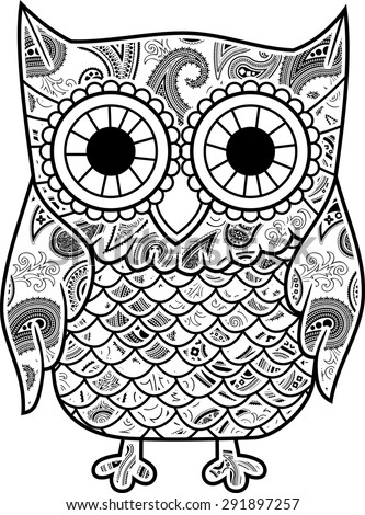 abstract decorative owl with paisley pattern isolated on white background - stock vector
