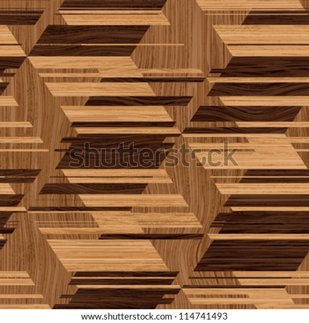 Abstract decorative wooden striped textured  illusion parquet mosaic background. Seamless pattern. Vector. - stock vector