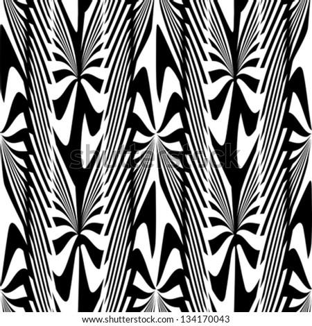 Abstract decorative zebra plants ornament. Seamless pattern. Vector. - stock vector