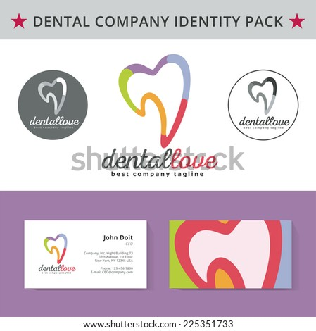 Abstract dental logo template. Dental, dentist office, tooth health, oral care, tooth care, oral care, clinic. Business card design. Logotype. Tooth vector logo icon. Business card template - stock vector
