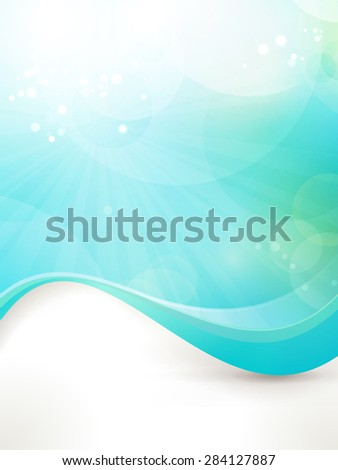 Abstract design background in shades of blue and green. Fitting for fresh, clean concept, sun, water, under water, etc - stock vector