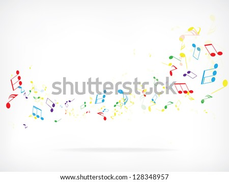 Abstract design background with colorful music notes - stock vector