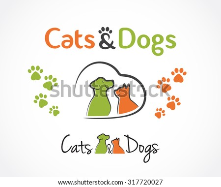 Abstract design concept for pet shop or veterinary. Dog and cat symbol. Vector logo template - stock vector