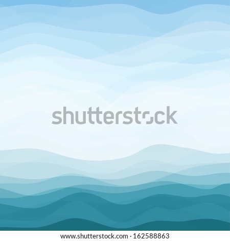 Abstract Design Creativity Background of Blue Horizontal Waves, Vector Illustration EPS10 - stock vector
