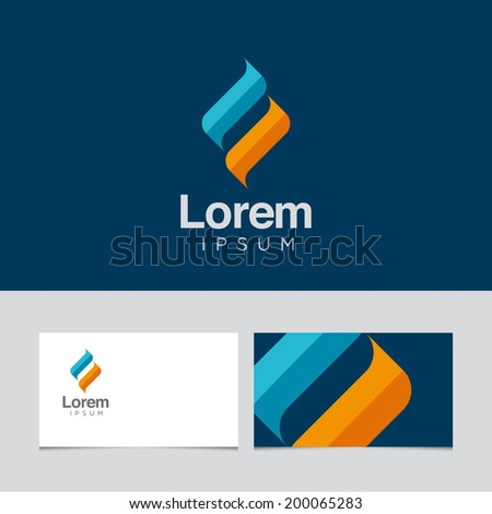 Abstract design element with business card template 05 - stock vector