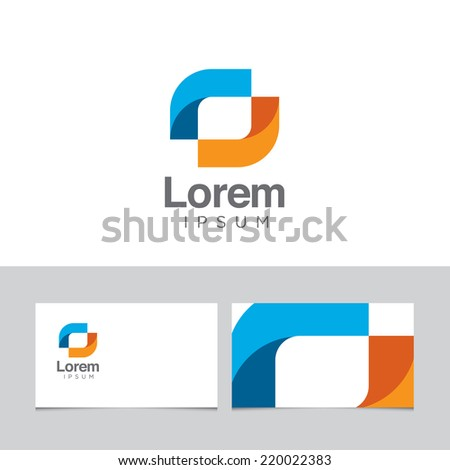 Abstract design element with business card template 09 - stock vector