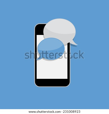 Abstract Design Flat Mobile Phone with Speech Bubbles. Vector Illustration. EPS10  - stock vector