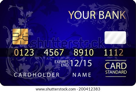 Abstract design of credit card with floral design.  - stock vector