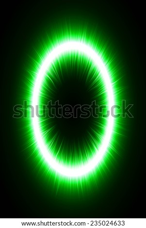 abstract design of green magic portal gate (in and out lines.vector version) - stock vector
