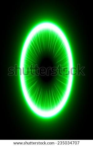abstract design of green magic portal gate (inner short lines.vector version) - stock vector