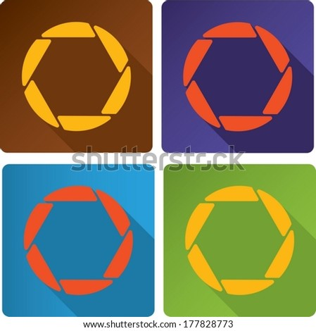 abstract design opened shutter apertures painted in modern color.  - stock vector