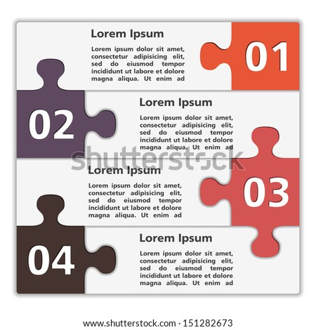 Abstract design template with puzzle pieces, vector eps10 illustration - stock vector