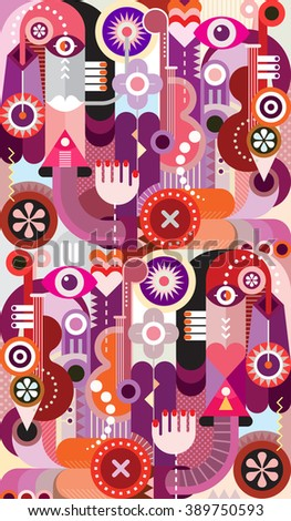 Abstract design.  Vector art collage of various colorful objects and shapes. - stock vector