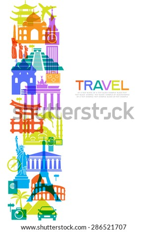 Abstract design with famous landmarks. Vector illustration. Modern design template. File is saved in AI10 EPS version. This illustration contains a transparency - stock vector