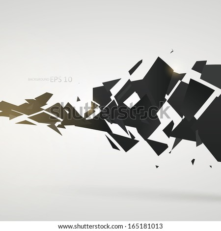 Abstract destroy lines background - stock vector