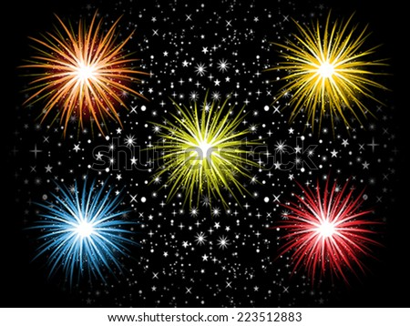 abstract detailed colorful cracker explode in sky vector illustration - stock vector