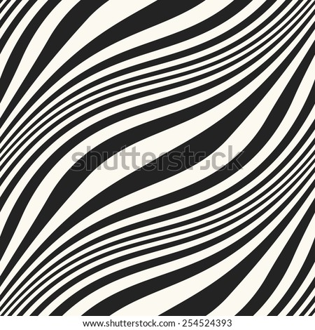 Abstract diagonal wavy striped seamless pattern. Vector. - stock vector