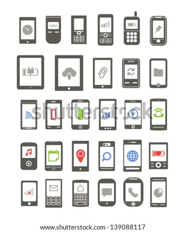 Abstract different mobile gadgets with icons on screen isolated on white background - stock vector