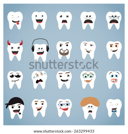 abstract different tooth activity icon set   each tooth has different shape, style and size - stock vector