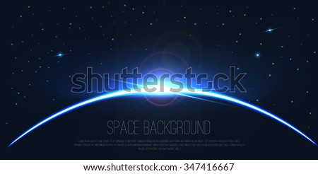 Abstract digital background . realistic rays and highlights ,wallpaper , space template. Vector orion  , earth . Eclipse on stars background . Constellation illustration . Galaxy picture - stock vector