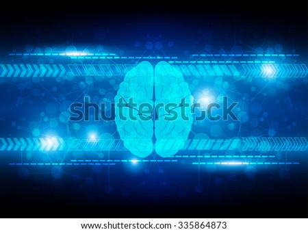 Abstract digital brain technology concept background. illustration vector - stock vector