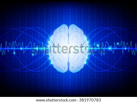 Abstract digital brain technology concept. illustration vector design - stock vector
