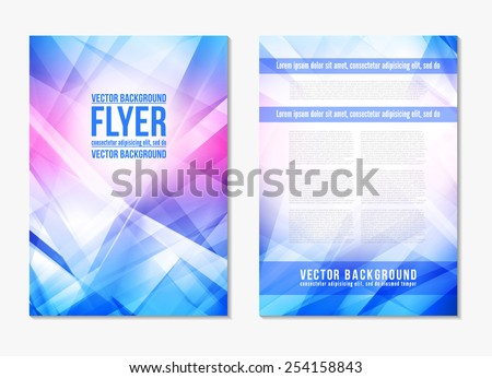 Abstract digital geometric modern pink and blue color backgrounds. Back and front flyer. Cover design template layout for corporate business book, booklet, brochure, poster. Vector - stock vector