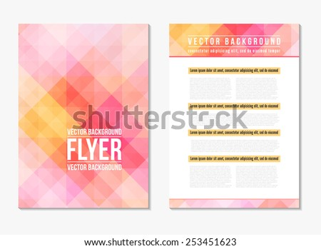 Abstract digital geometric modern soft pink and yellow color backgrounds. Back and front flyer. Cover design template layout for corporate business book, booklet, brochure, poster. Vector illustration - stock vector
