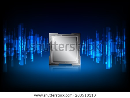 abstract digital information technology, sound wave background, brain processor - stock vector