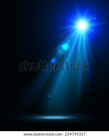 Abstract disco background with blue spot lights and bright rays. - stock vector