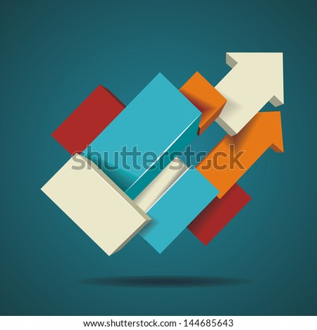Abstract distortion from arrow shape background - stock vector