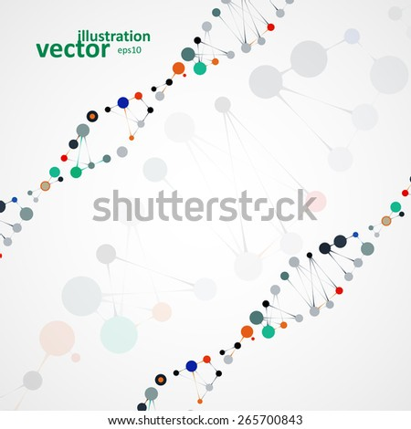 Abstract DNA, futuristic molecule, cell illustration eps10 - stock vector