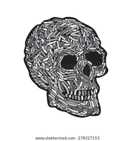 Abstract Doodle Worm Skull. Vector Illustration - stock vector