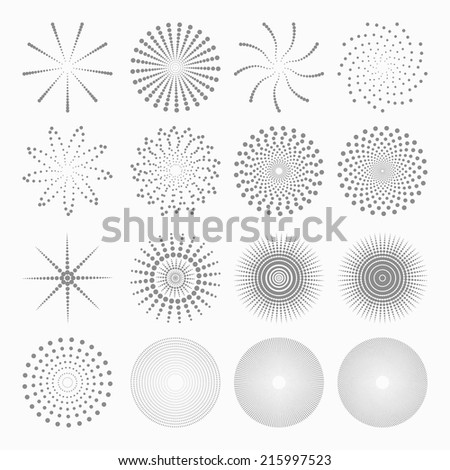 Abstract dot shapes, vector set of design element - stock vector
