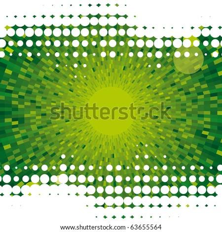 Abstract dot vector green background - stock vector