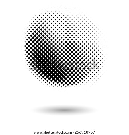 Abstract dotted black and white halftone effect vector background - stock vector