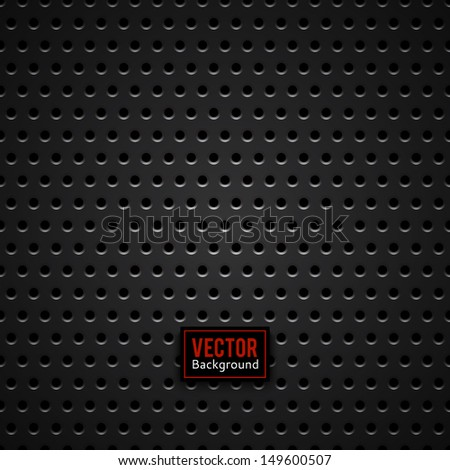 Abstract dotted black metal background, texture, grill. Seamless pattern. Vector illustration - stock vector