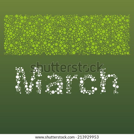 Abstract Dotted Monthly Calendar Design Elements Template, Clip-art with Label Made of Bubbles in Seasonal Colors - March - stock vector